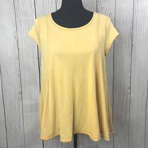 Mossimo Yellow Lace Up Back Short Sleeve Tee Shirt